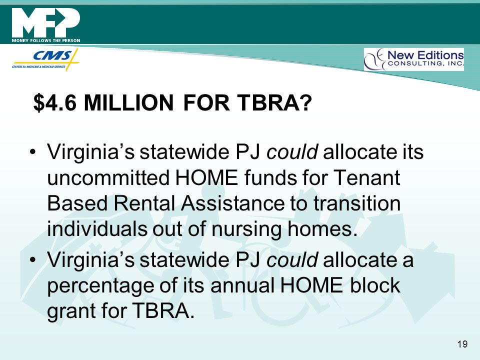 $4.6 MILLION FOR TBRA? Virginia's statewide PJ could allocate its uncommitted HOME funds for Tenant Based Rental Assistance to transition individuals