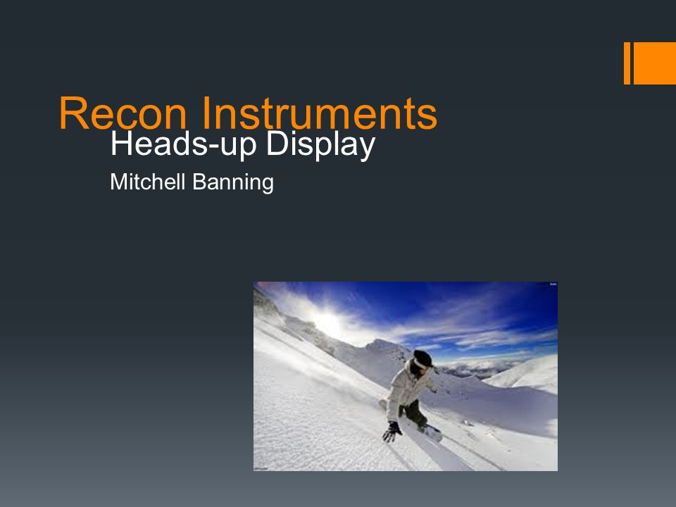 Recon Instruments Heads-up Display Mitchell Banning