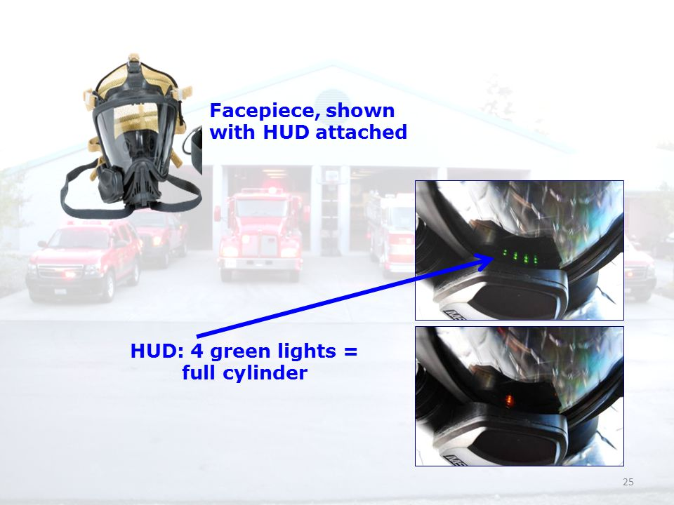 25 HUD: 4 green lights = full cylinder Facepiece, shown with HUD attached
