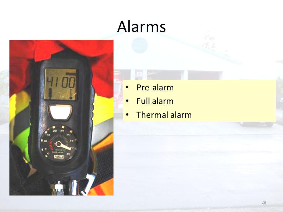 29 Alarms Pre-alarm Full alarm Thermal alarm