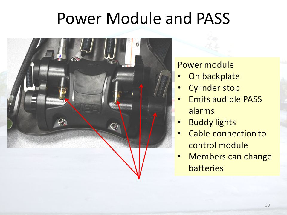 30 Power Module and PASS Power module On backplate Cylinder stop Emits audible PASS alarms Buddy lights Cable connection to control module Members can change batteries