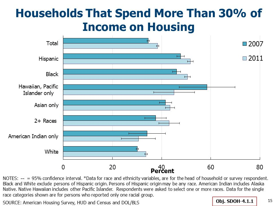 Households That Spend More Than 30% of Income on Housing 15 Obj.