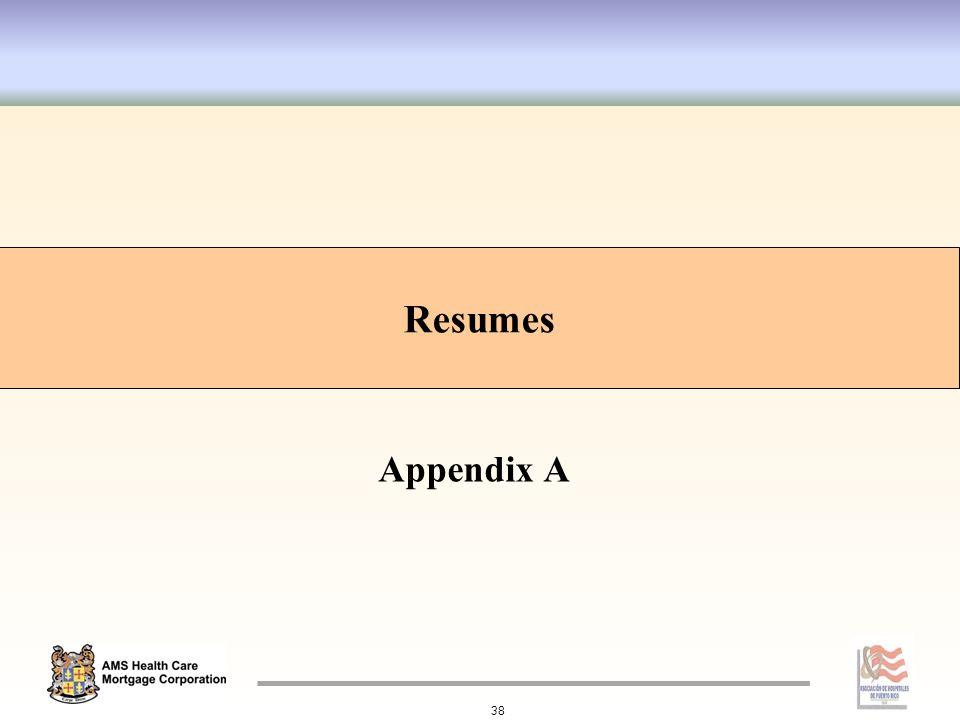 Appendix A Resumes 38 Resumes