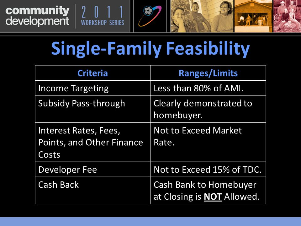 Single-Family Feasibility CriteriaRanges/Limits Income TargetingLess than 80% of AMI.