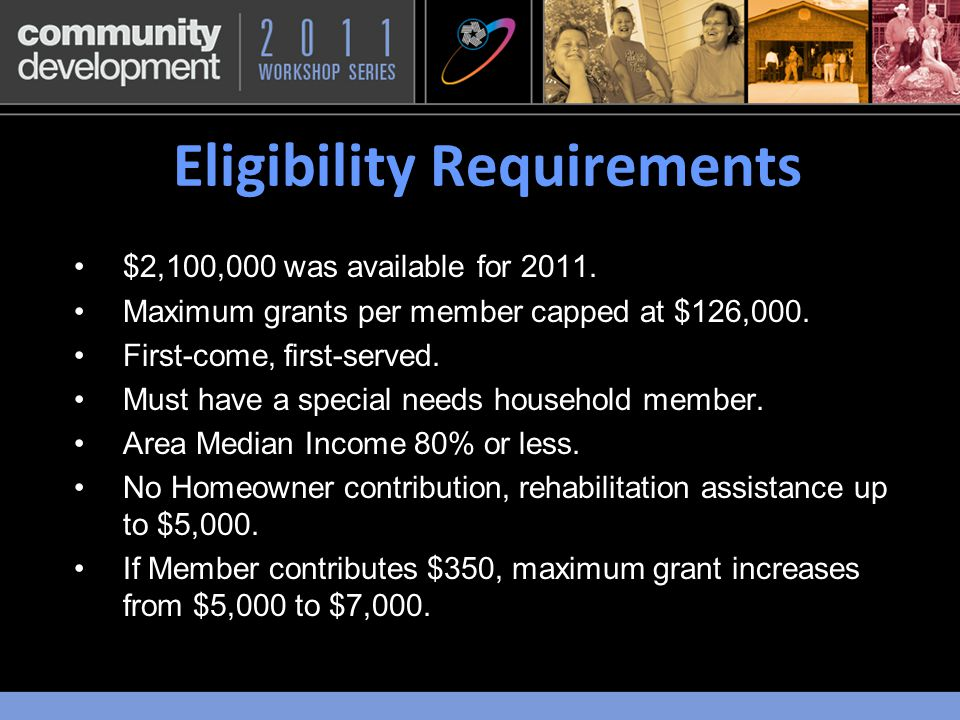 Eligibility Requirements $2,100,000 was available for 2011.