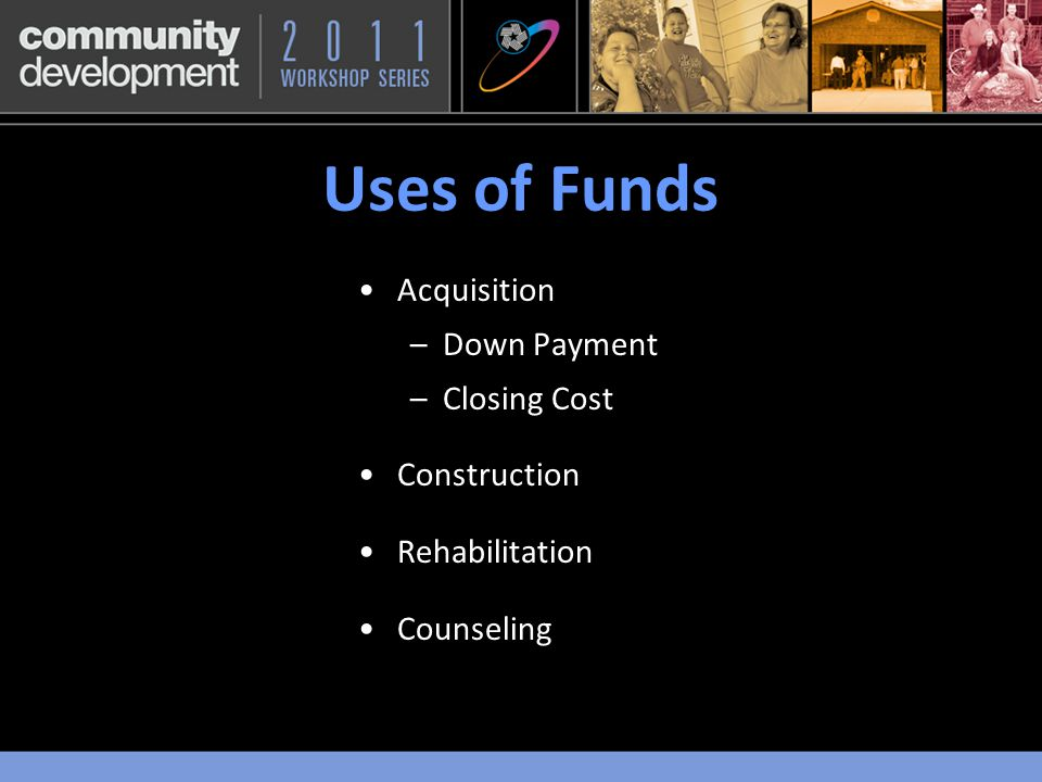 Scoring for 2011 5 PointsDonated Property 5 PointsNot-for-profit Sponsorship 25 PointsIncome Groups Targeted* 5 PointsHomeless Housing 5 PointsEmpowerment Programs/Services 20 PointsFirst District Priority* 5 PointsSecond District Priority 15 PointsEffective Use of Funds* 15 PointsCommunity Stability* 100 Points *See Separate Slide