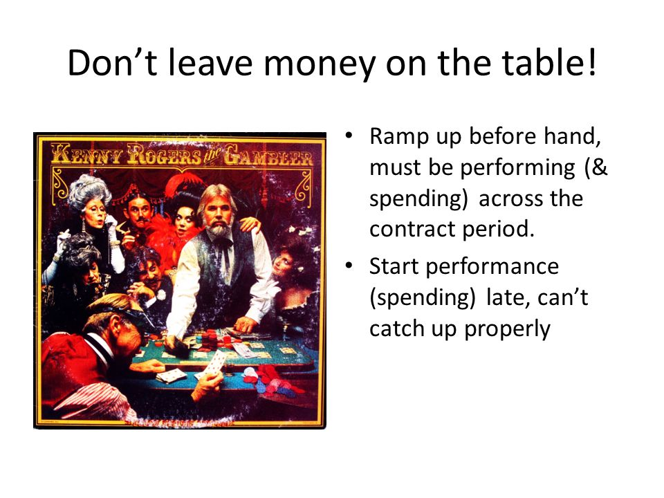 Don't leave money on the table.