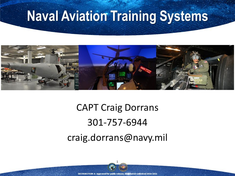 22 DISTRIBUTION A: Approved for public release; distribution unlimited 2014-1031 F/A-18 and EA-18 Training Systems CDR Anthony J.