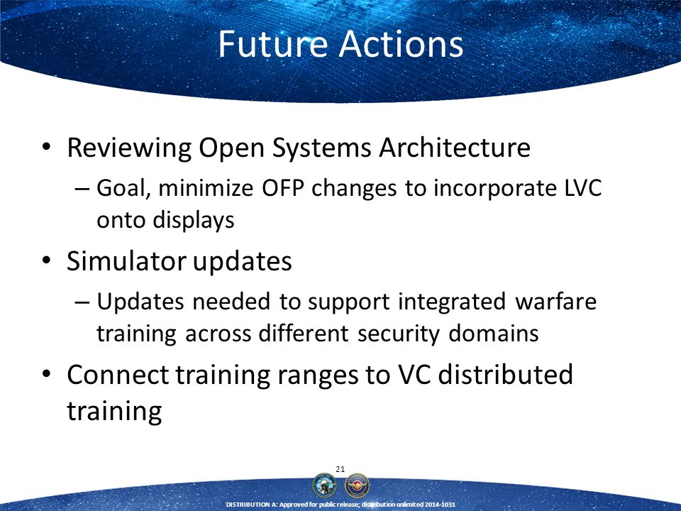 21 DISTRIBUTION A: Approved for public release; distribution unlimited 2014-1031 Future Actions Reviewing Open Systems Architecture – Goal, minimize O