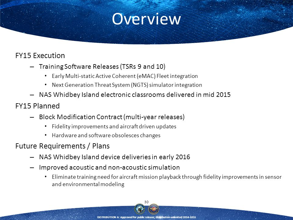 30 DISTRIBUTION A: Approved for public release; distribution unlimited 2014-1031 Overview FY15 Execution – Training Software Releases (TSRs 9 and 10)