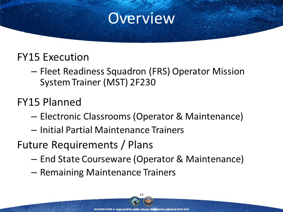 34 DISTRIBUTION A: Approved for public release; distribution unlimited 2014-1031 Overview FY15 Execution – Fleet Readiness Squadron (FRS) Operator Mis