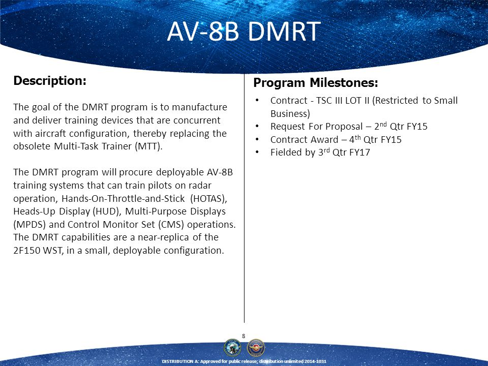 39 DISTRIBUTION A: Approved for public release; distribution unlimited 2014-1031 Unmanned Carrier Launched Airborne Surveillance and Strike (UCLASS) Training Systems Doug Steward (301) 757-4193 douglas.steward@navy.mil