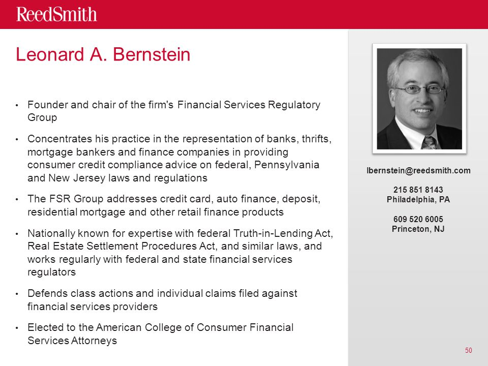 Leonard A. Bernstein Founder and chair of the firm's Financial Services Regulatory Group Concentrates his practice in the representation of banks, thr