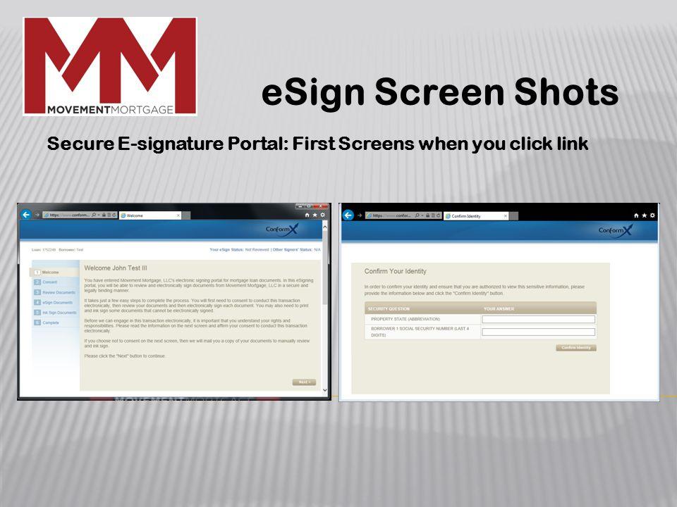 eSign Screen Shots Secure E-signature Portal: First Screens when you click link
