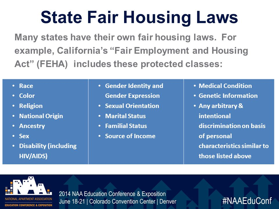 State Fair Housing Laws Many states have their own fair housing laws.
