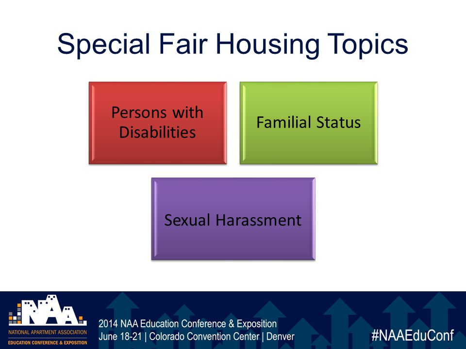 Special Fair Housing Topics Persons with Disabilities Familial Status Sexual Harassment