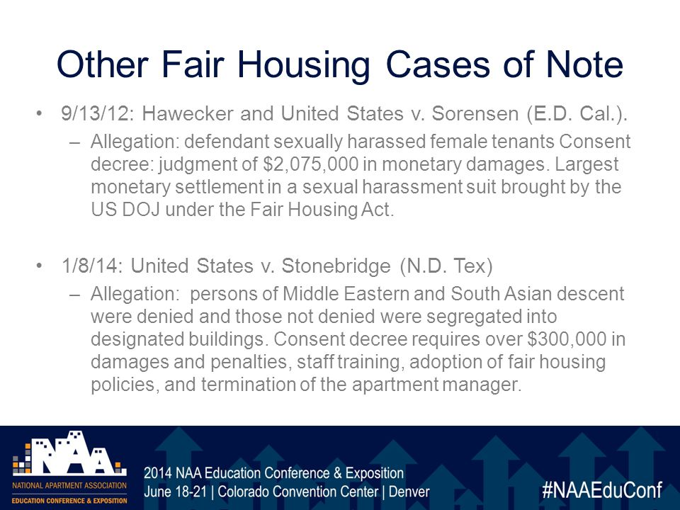 Other Fair Housing Cases of Note 9/13/12: Hawecker and United States v.