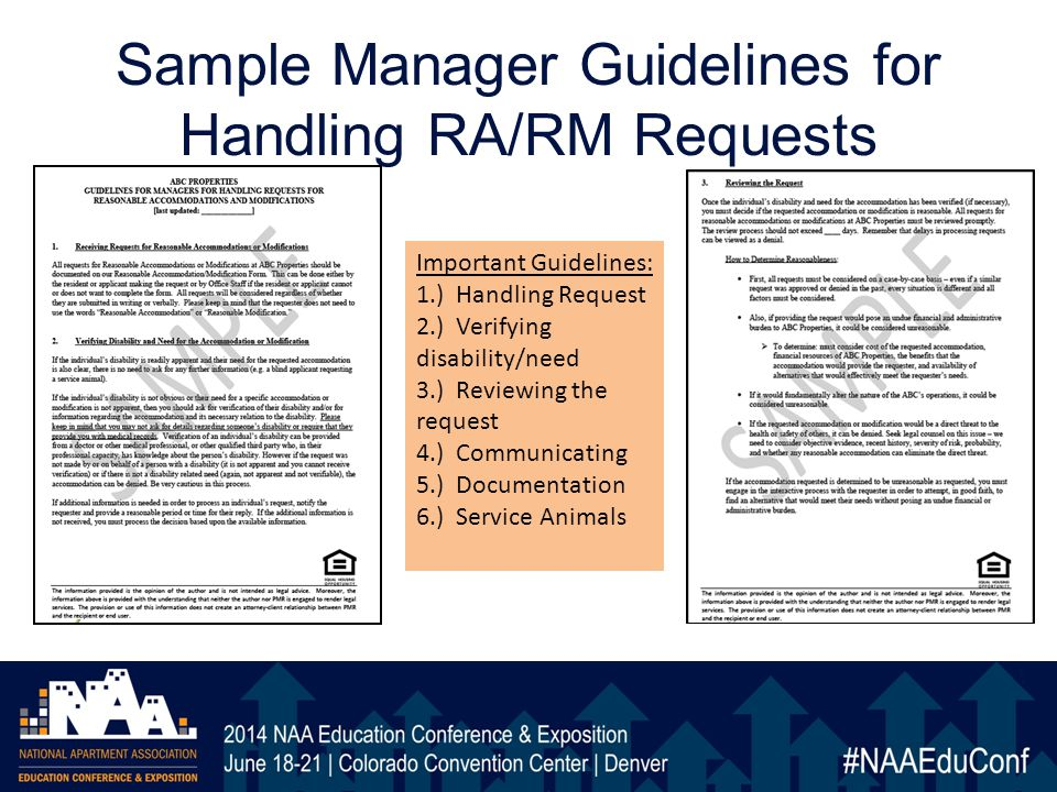 Sample Manager Guidelines for Handling RA/RM Requests Important Guidelines: 1.) Handling Request 2.) Verifying disability/need 3.) Reviewing the request 4.) Communicating 5.) Documentation 6.) Service Animals