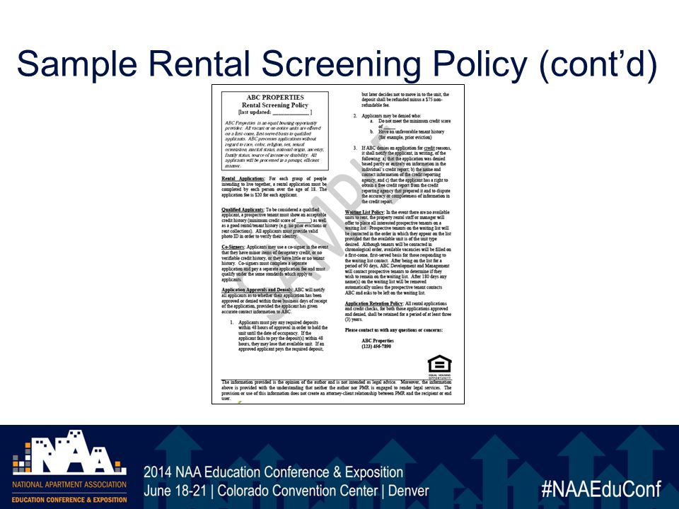 Sample Rental Screening Policy (cont'd)