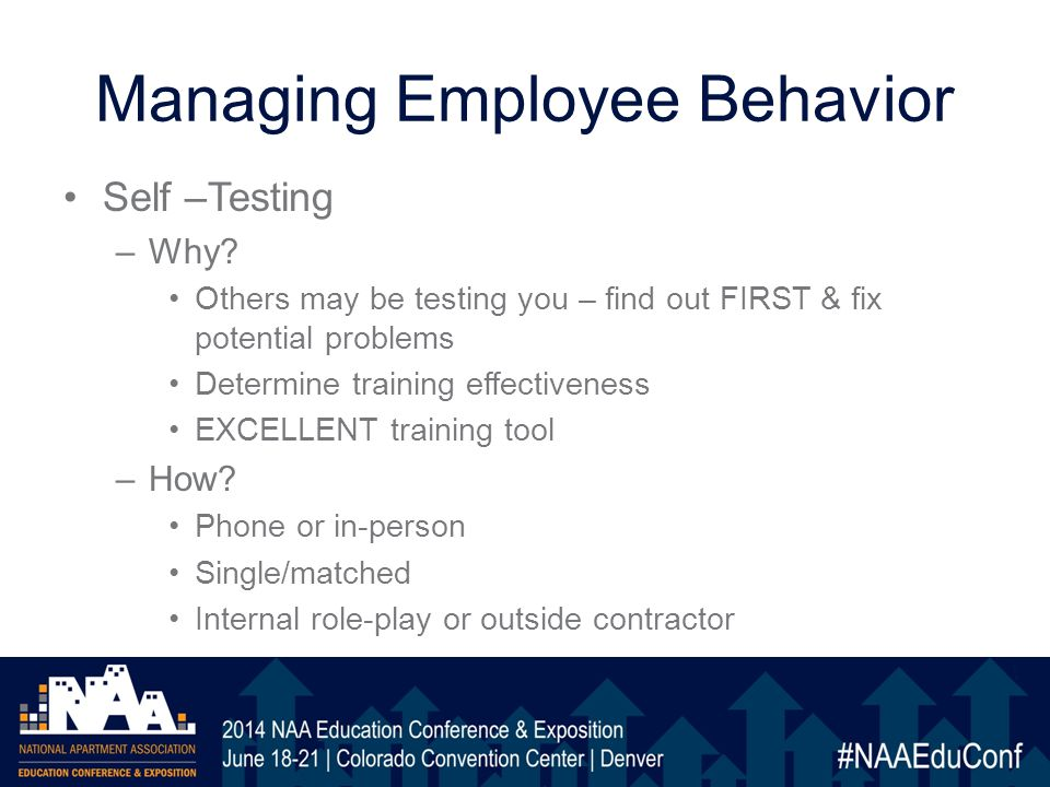 Managing Employee Behavior Self –Testing –Why.