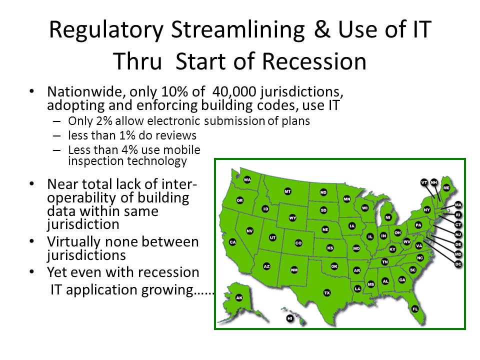 Regulatory Streamlining & Use of IT Thru Start of Recession Nationwide, only 10% of 40,000 jurisdictions, adopting and enforcing building codes, use IT – Only 2% allow electronic submission of plans – less than 1% do reviews – Less than 4% use mobile inspection technology Near total lack of inter- operability of building data within same jurisdiction Virtually none between jurisdictions Yet even with recession IT application growing………