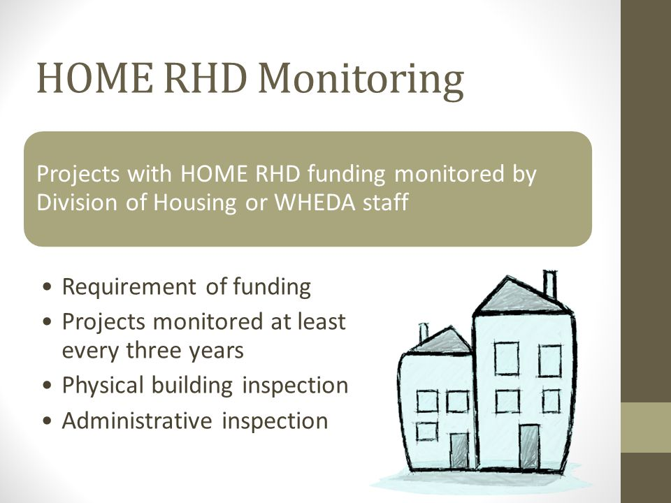 Projects with HOME RHD funding monitored by Division of Housing or WHEDA staff Requirement of funding Projects monitored at least every three years Physical building inspection Administrative inspection