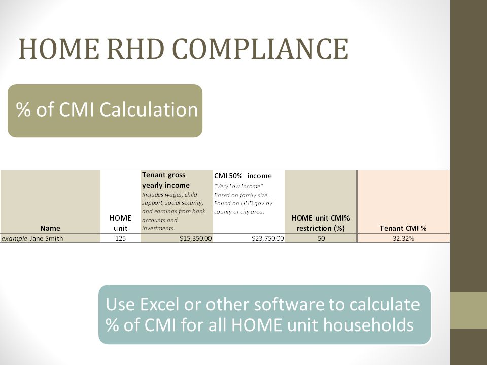 % of CMI Calculation Use Excel or other software to calculate % of CMI for all HOME unit households HOME RHD COMPLIANCE