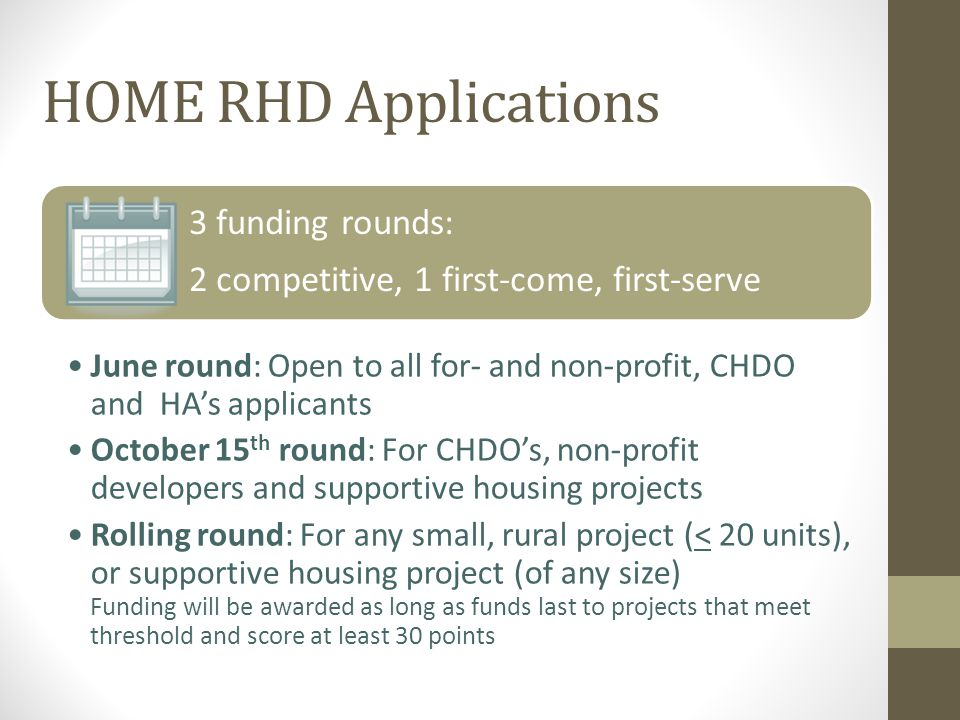 HOME RHD Applications Threshold items U.S.