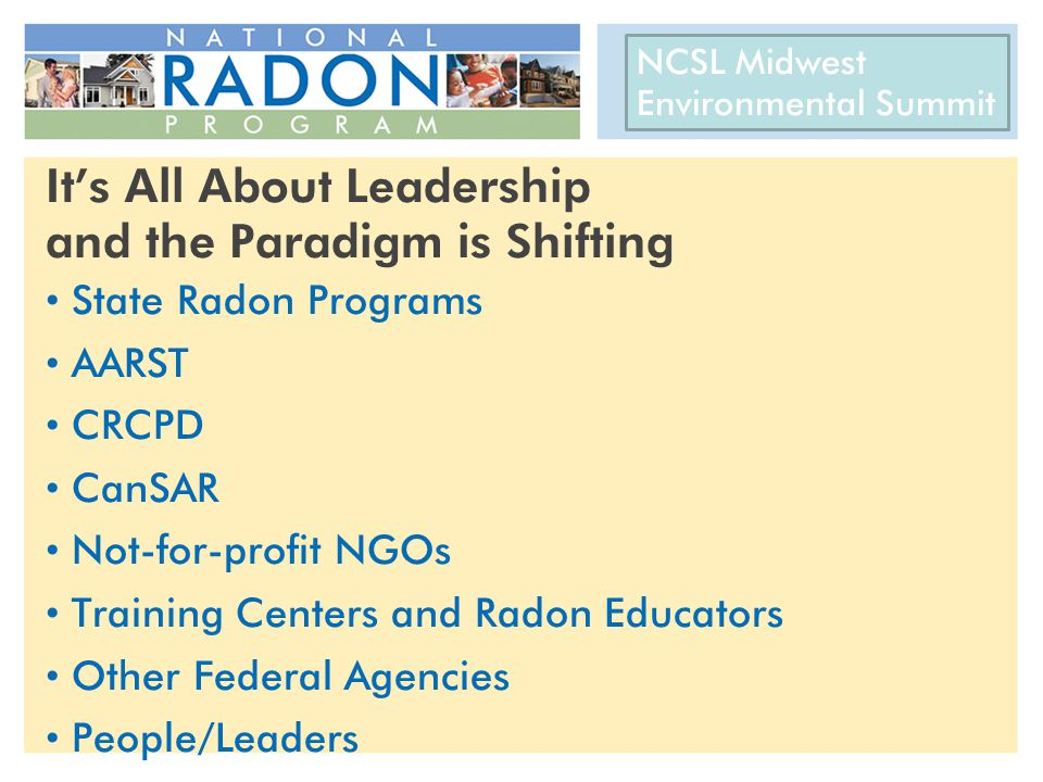 CRCPD 22 nd National Radon Training Conference AARST International Radon Symposium October 14-17, 2012 It's All About Leadership and the Paradigm is Shifting State Radon Programs AARST CRCPD CanSAR Not-for-profit NGOs Training Centers and Radon Educators Other Federal Agencies People/Leaders NCSL Midwest Environmental Summit