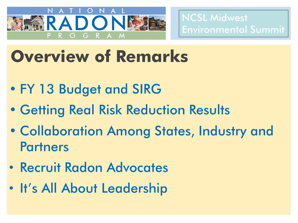 Overview of Remarks FY 13 Budget and SIRG Getting Real Risk Reduction Results Collaboration Among States, Industry and Partners Recruit Radon Advocate