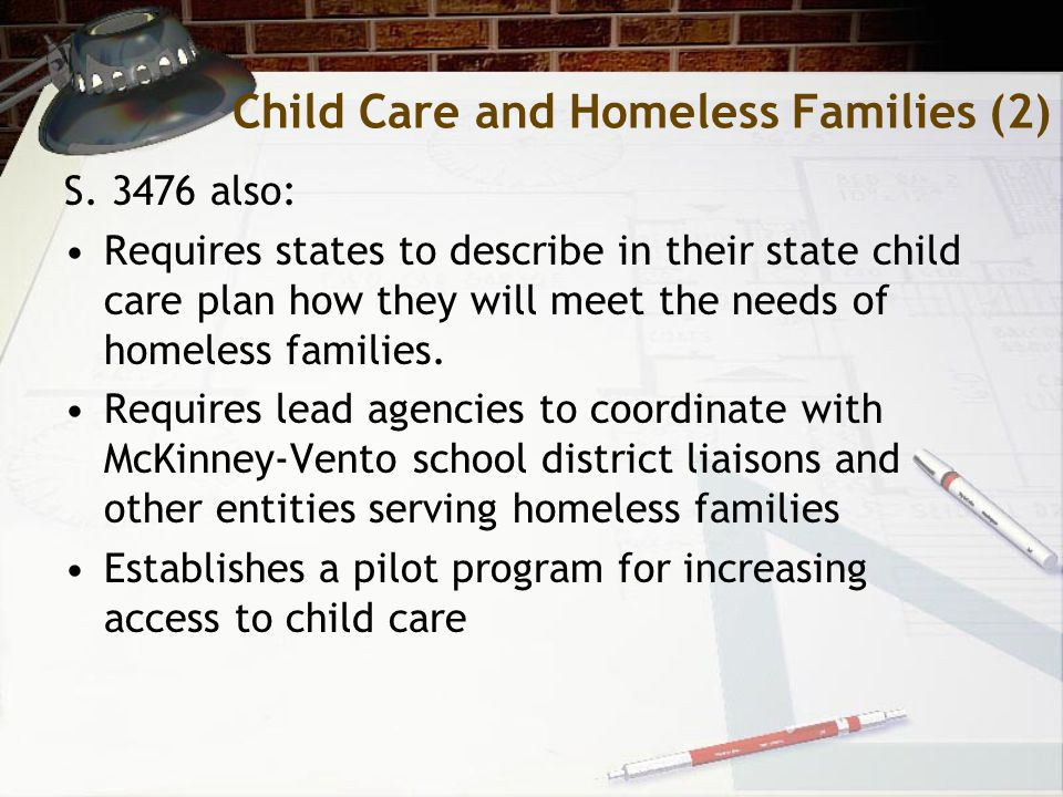 Child Care and Homeless Families (2) S.