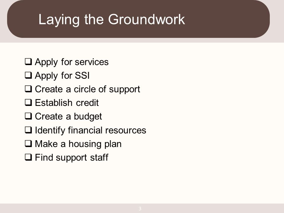  Apply for services  Apply for SSI  Create a circle of support  Establish credit  Create a budget  Identify financial resources  Make a housing