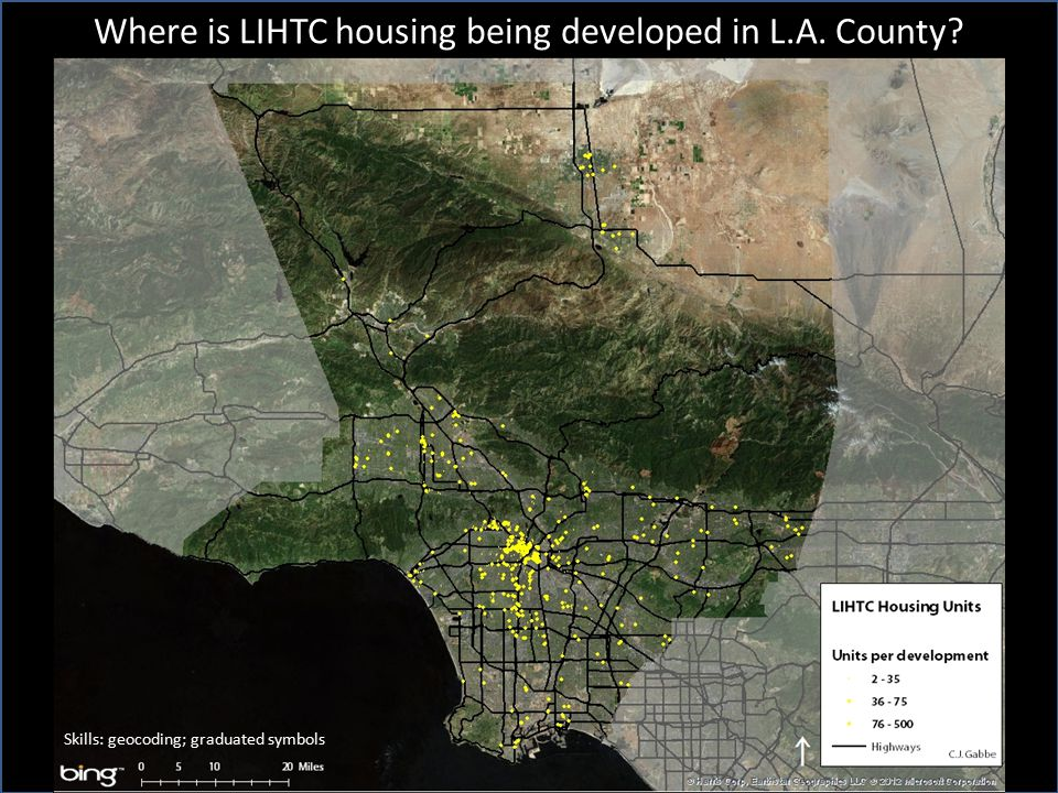 Where is LIHTC housing being developed in L.A. County Skills: geocoding; graduated symbols