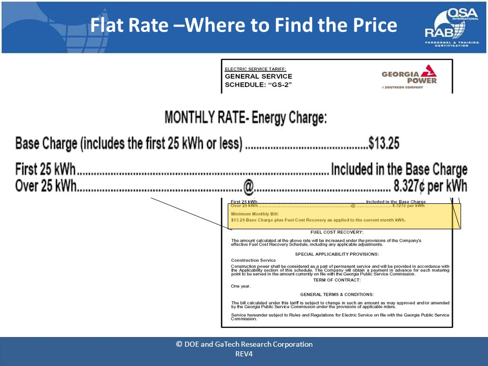 Flat Rate –Where to Find the Price © DOE and GaTech Research Corporation REV4