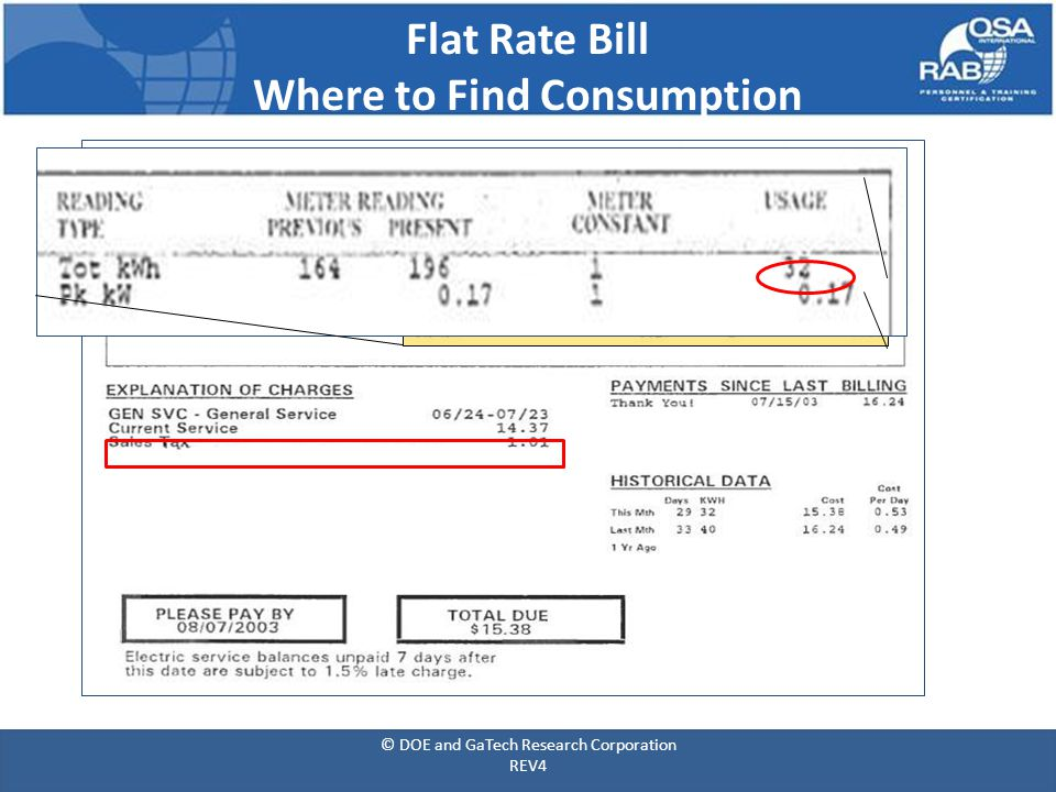 Flat Rate Bill Where to Find Consumption © DOE and GaTech Research Corporation REV4