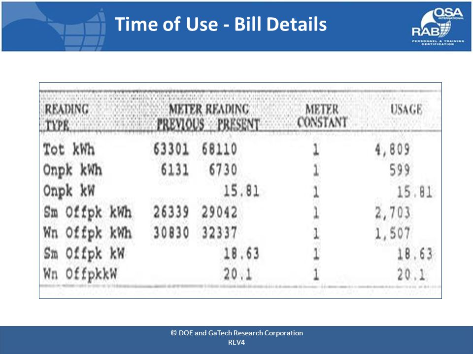 Time of Use - Bill Details © DOE and GaTech Research Corporation REV4