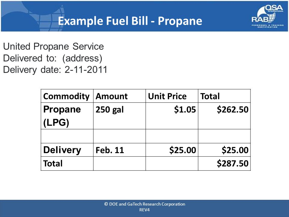 Example Fuel Bill - Propane United Propane Service Delivered to: (address) Delivery date: 2-11-2011 CommodityAmountUnit PriceTotal Propane (LPG) 250 gal$1.05$262.50 Delivery Feb.