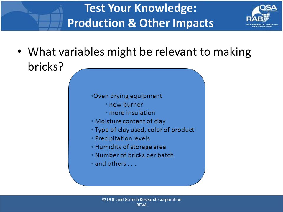 What variables might be relevant to making bricks.