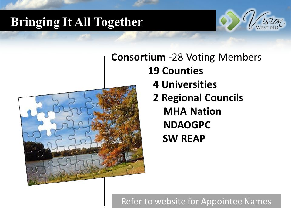 Bringing It All Together Consortium -28 Voting Members 19 Counties 4 Universities 2 Regional Councils MHA Nation NDAOGPC SW REAP Refer to website for Appointee Names