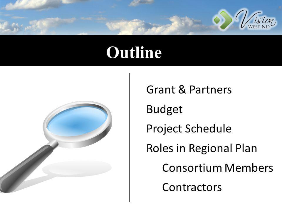 Outline Grant & Partners Budget Project Schedule Roles in Regional Plan Consortium Members Contractors