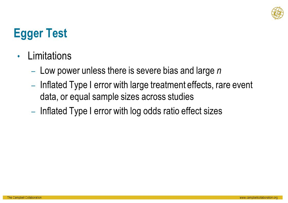 The Campbell Collaborationwww.campbellcollaboration.org Egger Test Limitations – Low power unless there is severe bias and large n – Inflated Type I e