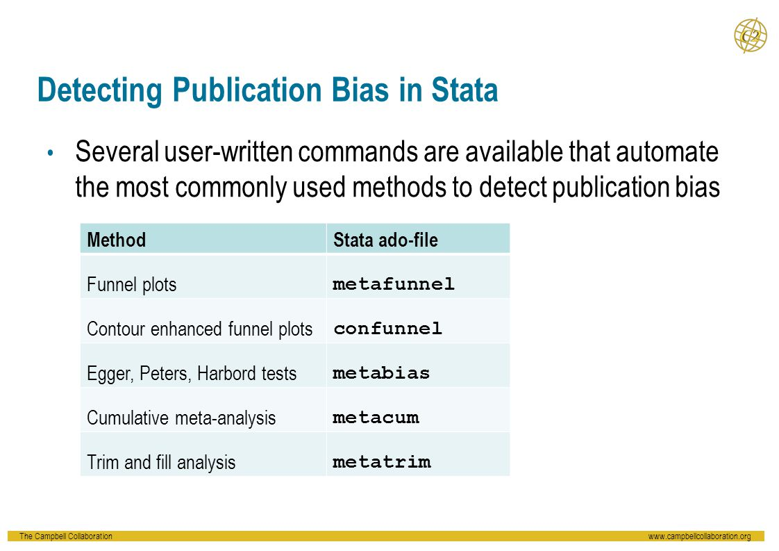 The Campbell Collaborationwww.campbellcollaboration.org Detecting Publication Bias in Stata Several user-written commands are available that automate