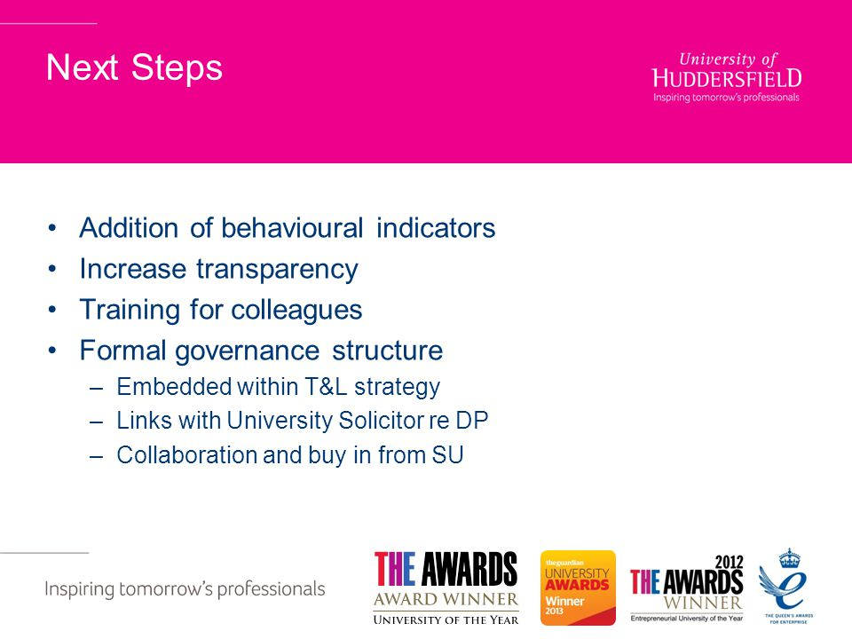 Next Steps Addition of behavioural indicators Increase transparency Training for colleagues Formal governance structure –Embedded within T&L strategy –Links with University Solicitor re DP –Collaboration and buy in from SU