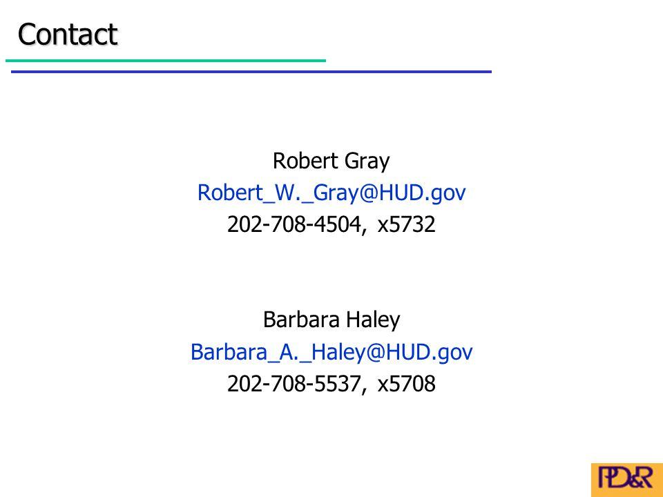 Robert Gray Robert_W._Gray@HUD.gov 202-708-4504, x5732 Barbara Haley Barbara_A._Haley@HUD.gov 202-708-5537, x5708Contact