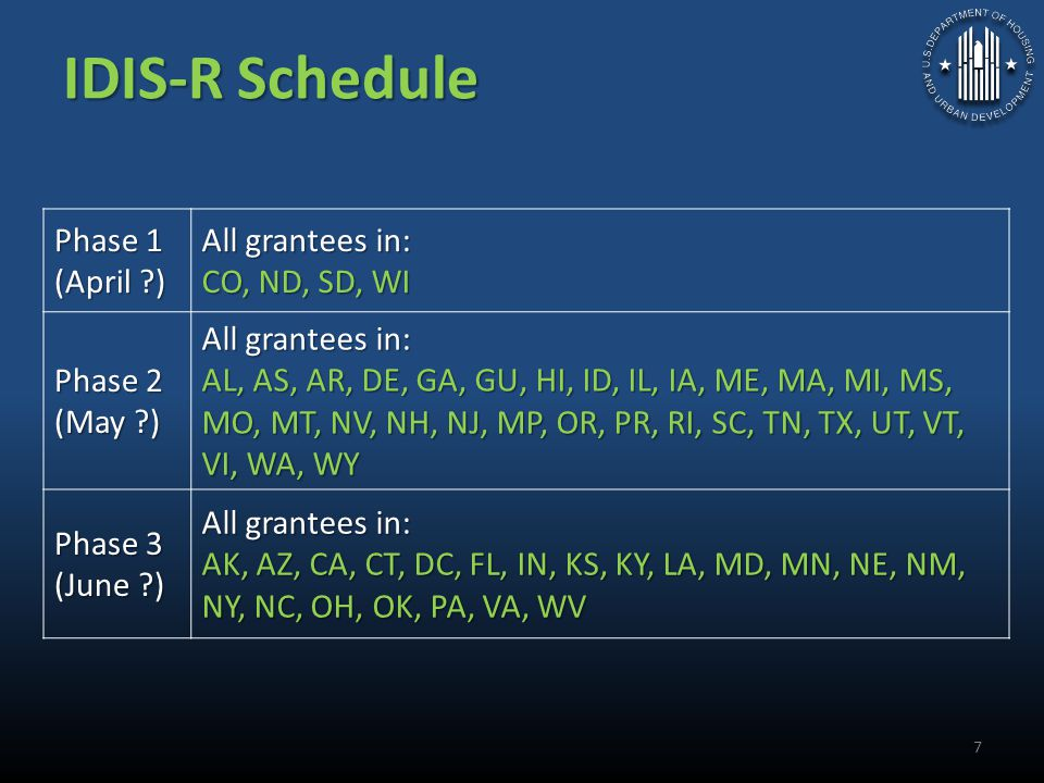 IDIS-R Schedule Phase 1 (April ) All grantees in: CO, ND, SD, WI Phase 2 (May ) All grantees in: AL, AS, AR, DE, GA, GU, HI, ID, IL, IA, ME, MA, MI, MS, MO, MT, NV, NH, NJ, MP, OR, PR, RI, SC, TN, TX, UT, VT, VI, WA, WY Phase 3 (June ) All grantees in: AK, AZ, CA, CT, DC, FL, IN, KS, KY, LA, MD, MN, NE, NM, NY, NC, OH, OK, PA, VA, WV 7