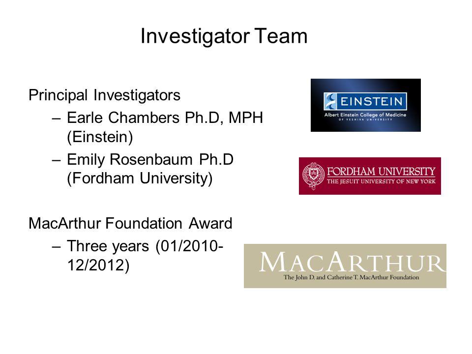 Investigator Team Principal Investigators –Earle Chambers Ph.D, MPH (Einstein) –Emily Rosenbaum Ph.D (Fordham University) MacArthur Foundation Award –Three years (01/2010- 12/2012)