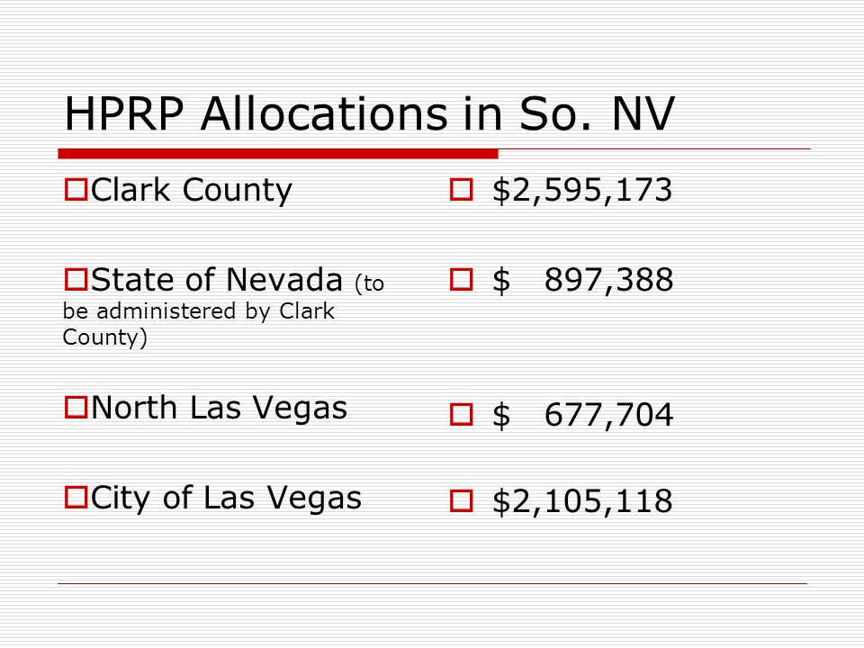 HPRP Allocations through County  Clark County allocation  The State has allocated some of its HPRP to the County for regional implementation  Clark County is the fiscal agent for the HUD Consortium with North Las Vegas  Clark County will administer  $2,595,173  $ 897,388  $ 677,704  $4,170,265