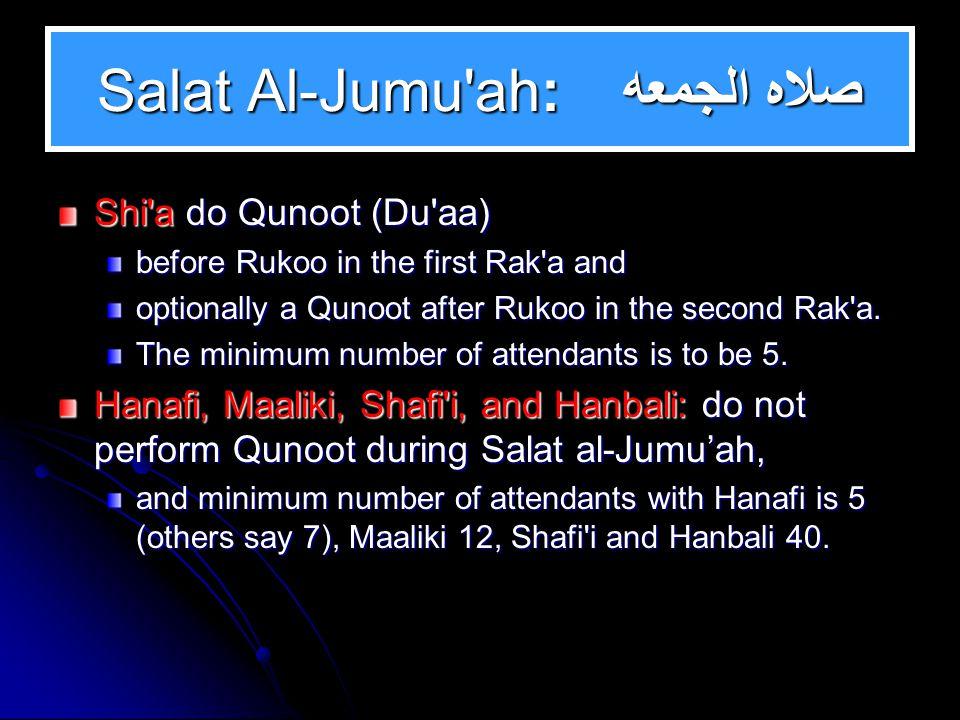 Salat Al-Janaaza: صـلاه الجنازه Shi a say 5 Takbiraat with Al-Fatiha not as a Must (not Wajib), Hanafi, Maaliki, Shafi i, and Hanbali: differed whether Fatiha is a Must (Wajib) or not.