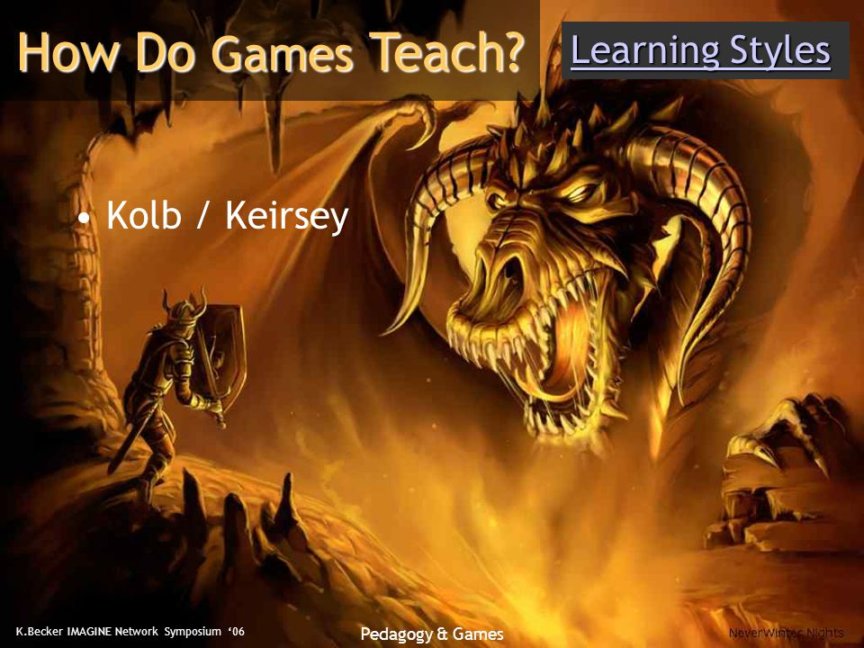 K.Becker IMAGINE Network Symposium '06 Pedagogy & Games Kolb / Keirsey How Do Games Teach.