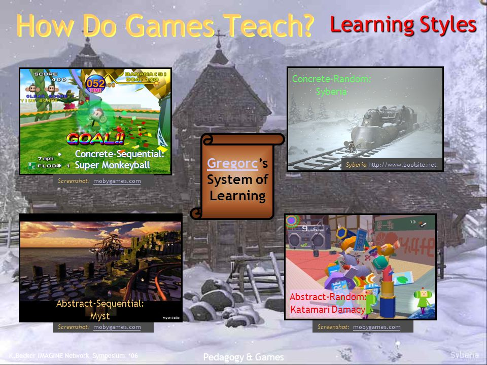K.Becker IMAGINE Network Symposium '06 Pedagogy & Games Concrete-Sequential: Super Monkeyball Concrete-Sequential: Super Monkeyball Screenshot: mobygames.commobygames.com How Do Games Teach.
